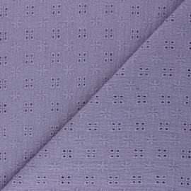 Embroidered double gauze cotton fabric - lavander Elise x 10cm