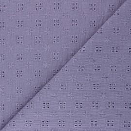Tissu double gaze de coton brodé Elise - lavande x 10cm