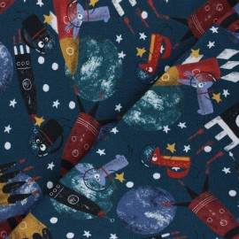 Stenzo jersey cotton fabric - navy blue Space Traffic x 10cm