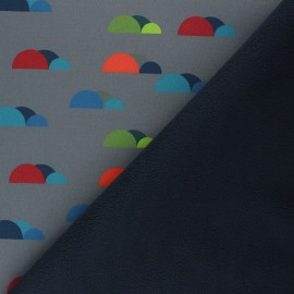 Patterned Softshell fabric  - grey Fancy Clouds x 10cm