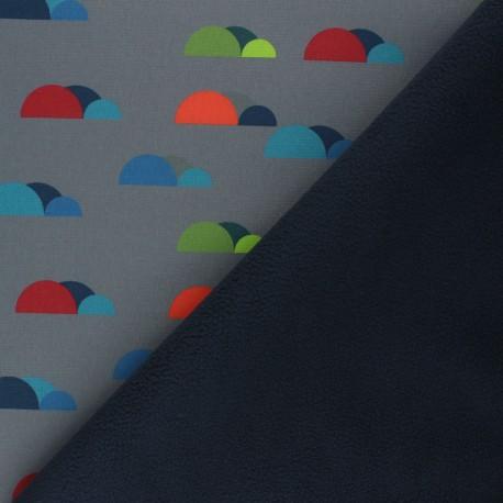 Patterned Softshell fabric  - grey Fancy Clouds x 10cm