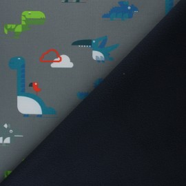 Patterned Softshell fabric  - grey Cloudy Dinos x 10cm