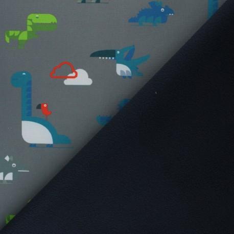 Tissu Softshell Cloudy Dinos - gris x 10cm