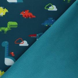 Tissu Softshell Cloudy Dinos - vert sapin x 10cm