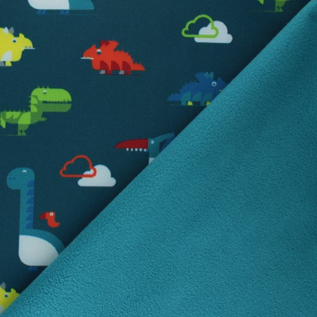 Patterned Softshell fabric  - pine green Cloudy Dinos x 10cm