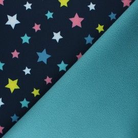 Patterned Softshell fabric  - navy blue Fancy Stars x 10cm