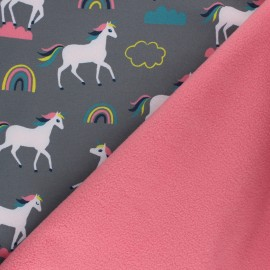Patterned Softshell fabric  - grey Cloudy Unicorns x 10cm