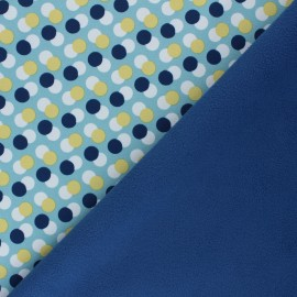 Patterned Softshell fabric  - frozen blue Diagonal Dots x 10cm