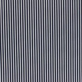 Tissu coton cretonne enduit Poppy Stripes - bleu nuit x 10cm