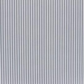 Tissu coton cretonne enduit Poppy Stripes - gris x 10cm