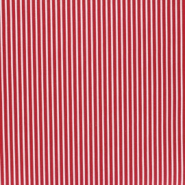 Poppy Coated cretonne cotton fabric - red Stripes x 10cm