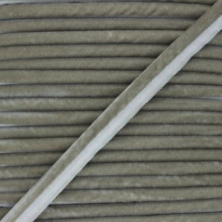 16mm Velvet Piping - taupe grey Clovis x 1m