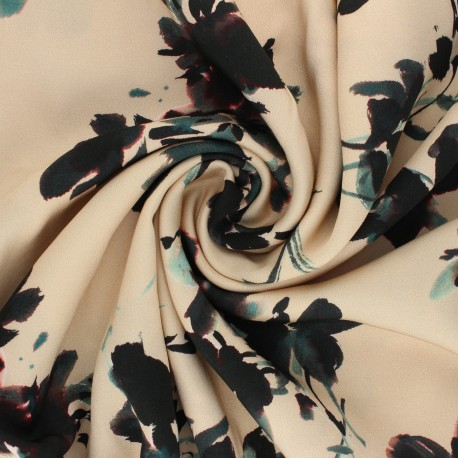 Patterned Viscose Fabric - beige Osmérie x 10cm