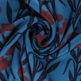Patterned Viscose Fabric - swell blue Satine x 10cm