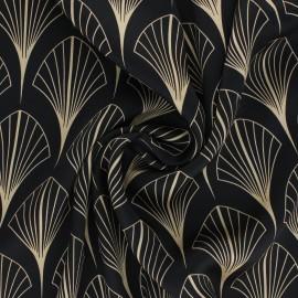 Satiny light polyester fabric - black Thélie x 10cm