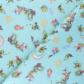 Tissu coton cretonne Bob's friends - vert d'eau x 10cm