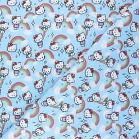 Tissu coton cretonne Kitty la tête dans les nuages - bleu ciel x 10cm