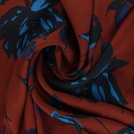 Tissu polyester léger satiné Solème - acajou x 10cm