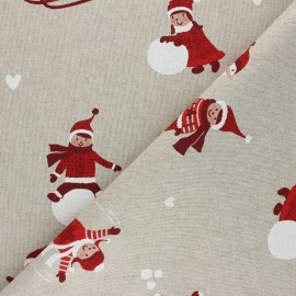 Linen aspect polycotton fabric - red Winter playground x 10cm