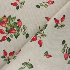 Linen aspect polycotton fabric - orange Les fruits de l'églantier x 10cm