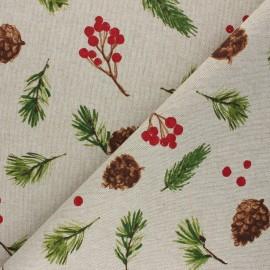 Tissu Toile polycoton aspect lin Balade hivernale - rouge x 10cm