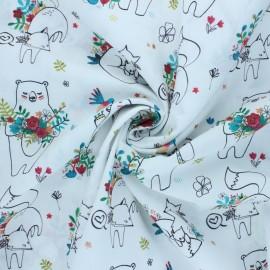Cotton poplin fabric Nouvelle Maman Ourse - white Illustré x 10cm