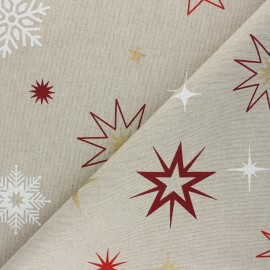 Linen aspect polycotton fabric - red Christmas stars x 10cm