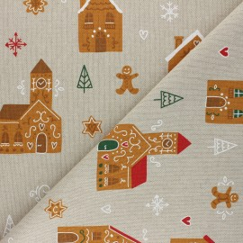 Linen aspect polycotton fabric - camel Gingerbread city x 10cm
