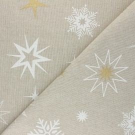 Linen aspect polycotton fabric - white Christmas stars x 10cm