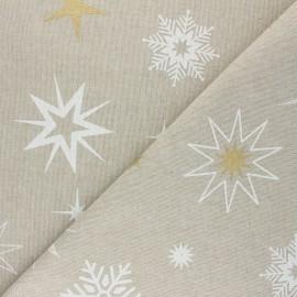 Tissu Toile polycoton aspect lin Christmas stars - blanc x 10cm
