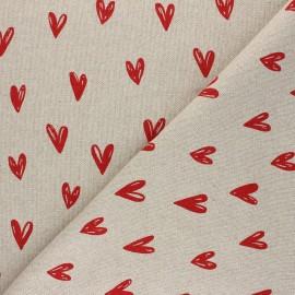 Tissu Toile polycoton lurex aspect lin Romance - rouge x 10cm