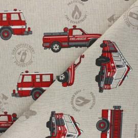 Linen aspect polycotton fabric - red Fire department x 10cm