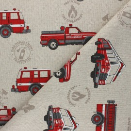 Tissu Toile polycoton aspect lin Fire Department - rouge x 10cm