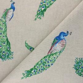 Linen aspect polycotton fabric - green Royal peacock x 10cm