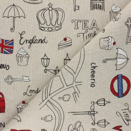 Linen aspect polycotton fabric - red London lifestyle x 10cm