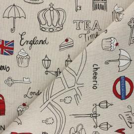 Tissu Toile polycoton aspect lin London lifestyle - rouge x 10cm
