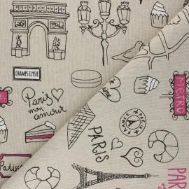 Linen aspect polycotton fabric - pink Paris lifestyle x 10cm