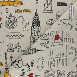 Linen aspect polycotton fabric - black New York lifestyle x 10cm