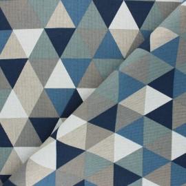 Tissu Toile polycoton aspect lin Triangolo - bleu x 10cm