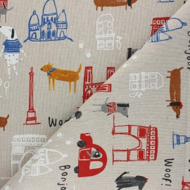 Linen aspect polycotton fabric - red Dogs in Paris x 10cm