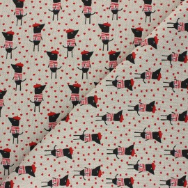 Linen aspect polycotton fabric - red French dogs x 10cm