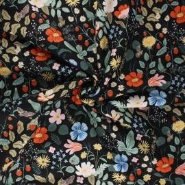 Tissu coton Rifle Paper co. Strawberry Fields - noir x 10cm