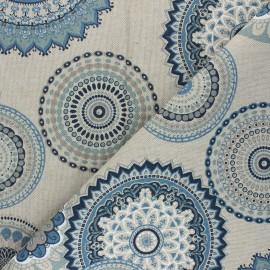 Tissu Toile polycoton aspect lin Rangoli - bleu x 10cm