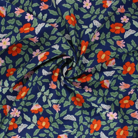 Rifle Paper Co. Rayon fabric - navy blue Strawberry Fields x 10cm