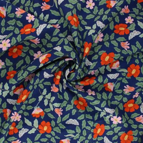Tissu rayonne Rifle Paper co. Strawberry Fields B - bleu marine x 10cm