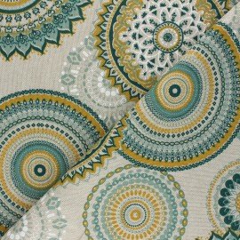 Tissu Toile polycoton aspect lin Rangoli - vert x 10cm