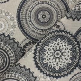 Tissu Toile polycoton aspect lin Rangoli - gris x 10cm