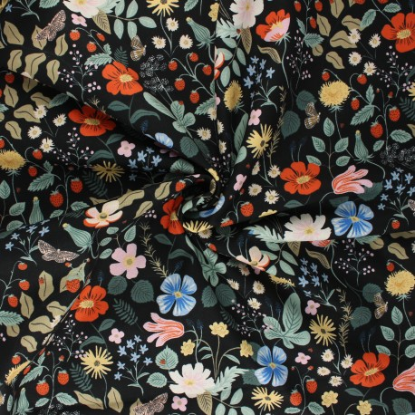 Rifle Paper Co. Rayon fabric - black Strawberry Fields A x 10cm