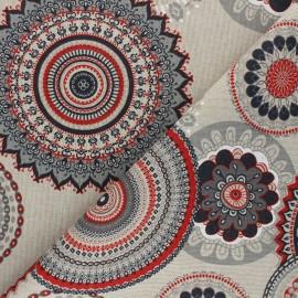 Tissu Toile polycoton aspect lin Rangoli - rouge x 10cm