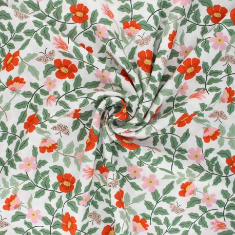 Tissu rayonne Rifle Paper co. Strawberry Fields B - blanc  x 10cm